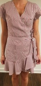 Striped Faux-wrap dress from Express
